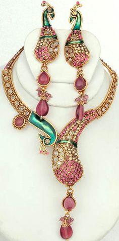 Peacock Necklace & Earrings Jewellry Set