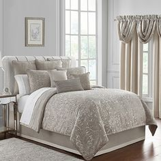 Bring elegant glamour into your private oasis with the Waterford Arianna ReversibleComforter Set. The set features an oversized blooming medallion jacquard pattern in shades of pearl, ivory, and champagne, and reverses to a stripe motif for contrast. Home Decor Store, Comforters, Comforter Sets, Furniture, Bed, Luxury Bedding, Bed Styling, King Comforter Sets, Home Decor
