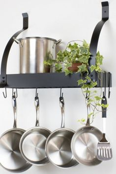 Contour Essentials Stainless Steel Wall Mounted Kitchen Pot Rack with 10 Hooks Kitchen Decor Items, Kitchen Stuff, Wall Mounted Spice Rack, Magnetic Spice Racks, Kitchen Tablecloths, Pot Rack Hanging, Kitchen Timers, Steel Wall, Dinner Napkins