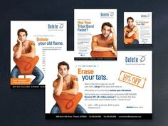 Advertisements and direct mailer campaign for Delete - Tattoo Removal & Laser Salon. http://www.anniehazama.com