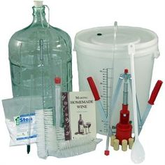 """Winemaking starter kit!  Really it's easy.  My husband and I have been making wine for the last year!  So fun!  We started by buying wine kits which are like a """"wine by numbers"""".  Day one do this, day fourteen do this, etc.  EASY!"""