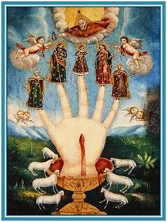 Giclee fine art print from antique century Mexican folk art devotional painting called Mano Poderosa (The All-Powerful Hand), or Las Cinco Personas (The Five Persons). Religious Icons, Religious Art, Religious Images, Symbol Hand, Religion, Esoteric Art, Mexican Folk Art, Medieval Art, Sacred Art