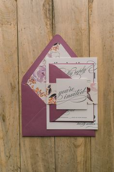 CYNTHIA Suite Floral Package, wine, purple, blush, summer or fall floral wedding invitations, letterpress printing, grey