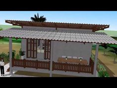 YouTube Two Bedroom House Design, Three Bedroom House Plan, Animation 3d, Bamboo House, Shed Homes, Wooden House, Pergola, Cottage, Outdoor Structures