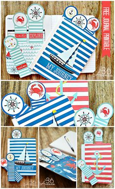 Free Nautical Journal and Bookmark Printables! Such a cute way to keep a record of Summer memories! Printable Planner, Party Printables, Free Printables, Nautical Party, Journal Cards, Note Cards, Diy Gifts, Summer Memories, Paper Crafts