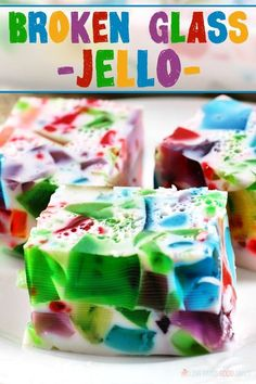 """Kids Meals You'll hear plenty of """"oohs"""" and """"aahs"""" when you serve this Broken Glass Jello. It's a fun and colorful treat for kids . Desserts Ostern, Jello Recipes, Köstliche Desserts, Easter Recipes, Holiday Recipes, Delicious Desserts, Yummy Food, Gelatin Recipes, Filipino Desserts"""