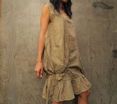 Breeze Dress...Olive green mix silk one size fits by cocoricooo