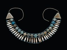Blue-glazed faience lotiform collar terminal. New Kingdom. 18th  - 19th dynasty. 1550–1186 B.C. | Museum of Fine Arts, Boston