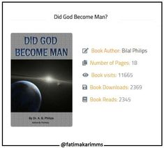 Media Tweets by Fatima Karim (@fatimakarimms) | Twitter.  one of the best booklets Title : Did God Become Man? Book Author : Bilal Philips Number of Pages : 18.#Islam #IslamicQuotes #Quotes #Allah #Alhamdulillah #Patience #life #death #usa #uk #canada #europe #lasvegas #new york #inspiration #inspirational | Inspirational Allah Prophet Muhammad quotes life inspiration quote usa uk canada kind be kind death quotes on life quotes love travel learn think games game Prayer |
