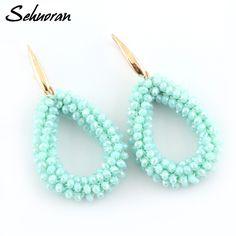 Sehuoran Dangle Earrings For Woman Big Long Earing Drop Earrings Handmade Braided Crystal Earrings Bohemian Style New Statement