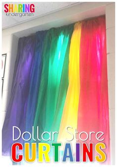 How to make curtains using Dollar Store Plastic Table Clothes! Use this hack to make your wallet look fat and your windows looking awesome #classroomdeals #classroomdiy #classroomdecor
