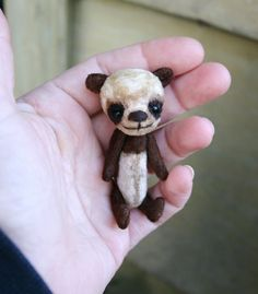 Reserved Mini brown panda Bear in an aged vintage toy teddy style by artist S Moog yummi-bears recycled