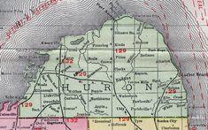 Huron County, Michigan, 1911, Map, Rand McNally, Bad Axe, Pigeon, Port Austin, Grindstone City, Port Hope, Harbor Beach, Elkton, Bay Port, Owendale, Sebewaing, Caseville, Kinde, Filion