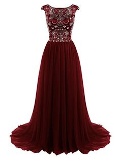 Tideclothes ALAGIRLS Long Prom Dress Beaded Tulle Evening...