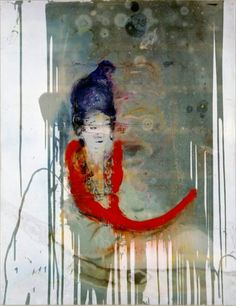 """Julian Schnabel Untitled (Chinese)  oil, resin on polyester, 142 x 110"""", 2004"""