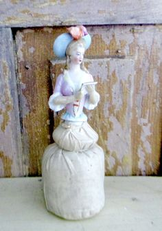 Antique German Porcelain Pin Cushion Half Doll