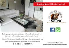 Good day All. Nguni Cow Hide Company sells Luxury Nguni Cow Hide rugs. We have a great selection for you to choose from and our service is to come out to your home for you to choose the best Nguni Hide for your space. Please call or whatsapp Craig on 729024440 and please also do visit our Facebook page at www.facebook.com/ngunicowhidecompany  #Nguni #NguniCowHides #NguniSkins #ZuluHides #AfricanGameskin #NguniCapeTown #CowSkins #CowSkinRugs #CowSkinCarpet Hide Rugs, Cow Hide Rug, Cow Skin Rug, Contemporary, Modern, Your Space, Are You The One, Classic Style, Facebook