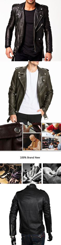 Men Coats And Jackets: Fashion Men S Biker Motorcycle Faux Leather Slim Black Jacket Outwear Tops Coat -> BUY IT NOW ONLY: $31.99 on eBay!