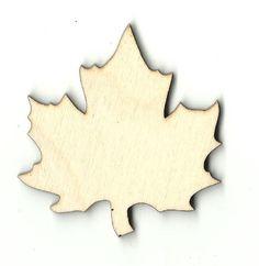 Maple Leaf Unfinished Laser Cut Wood Shape LEF90