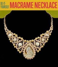 Necklace DIY! DIY Macrame Necklace with Stone and Beads   http://diyready.com/diy-macrame-necklace-with-stone-and-beads-diy-jewelry/