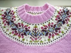 Ravelry: mtrosegarden's Fair Isle Yoke Sweater Fair Isle Knitting Patterns, Fair Isle Pattern, Knitting Designs, Knitting Stitches, Knit Patterns, Free Knitting, Knitting Projects, Stitch Patterns, Sock Knitting