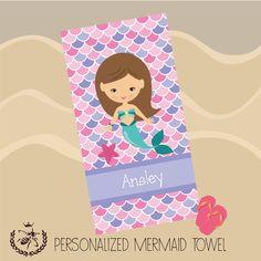 Personalized Beach Towel, Mermaid Towel, Monogram Towel, Pool Towel, Birthday Gift, Back to School, Camp Towel by TheBeeBoutiqueNC on Etsy