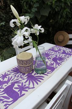 Grape Purple   Otomi Runner by CasaOtomi on Etsy,   Mexico, Tenango, mexican wedding, textile, mexican suzani, suzani, embroidery, hand embroidered, otomi, www.casaotomi.com, otomi, table runner, fiber art, mexican, handmade, original, authetic, textile ,