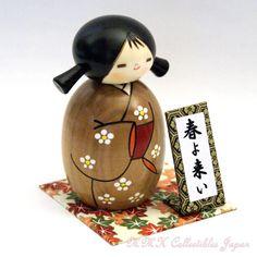 Lovely Creative Kokeshi Doll HARU-YO-KOI (ANTICIPATING SPRING), Small by Usaburo