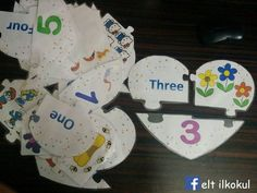 Three pieces heart puzzle for teaching numbers 1- 10