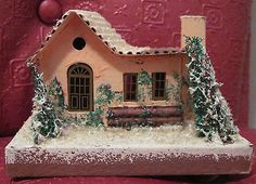 VTG APRICOT BUNGALOW House Christmas Mica Putz Cardboard  Village Japan 1950's