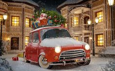 Christmas, gifts, New Year, car with gifts, 2017, Christmas Tree, New Years Eve