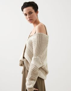 Striped cardigan (211MBA380626) for Woman | Brunello Cucinelli Cotton Sweater, Cashmere Sweaters, Striped Cardigan, Knit Fashion, Casual Elegance, Brunello Cucinelli, Online Boutiques, Cardigans For Women, Knitwear