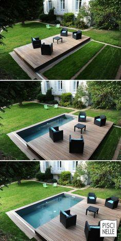arquitetura do imóvel: Piscina e deck sobrepostos, boa idéia de utilização do espaço externo