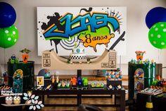 E a festa Skate park do João ficou linda D+! Com direito a grafitagem e tudo! Tema perfeito para um lindo garotinho comemorar o seu 8º anive...