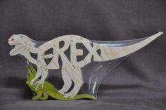 dino puzzles for scroll saw   TRex Dinosaur Wooden Puzzle Toy Hand Cut with by Puzzimals, $12.00