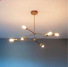 MID CENTURY MODERN BRASS ATOMIC CHANDELIER LIGHT FITTING 6 BULB ARMS SPUTNIK NEW