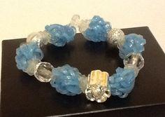 Glitter Light Blue and Clear Beaded Rubber band Bracelet- 'Loomless Lights' Rainbow Loom Bracelet