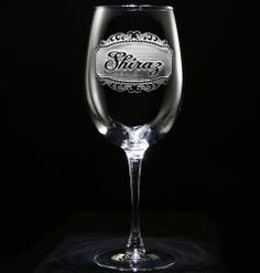 Shiraz Wine Glass, Custom Engraved Shiraz Wine Label Glass by Crystal Imagery.