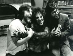 American Werewolf in London - behind the scenes of special effects, with director John Landis on the right