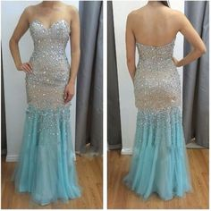 >> Click to Buy << Beaded-Evening-Dresses-2015-Sweetheart-Sleeveless-Backless-Low-Zipper-Sweep-Train-2016-Crystal-Long-Prom-Gown #Affiliate