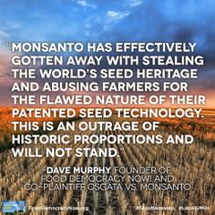 Join Food Democracy Now! in taking back our food, agriculture and environment! www.fooddemocracynow.org #BanGMOs #StopMonsanto #Contamination Farmers vs Monsanto