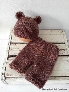 Brown Fluffy Teddy Hat and Matching Pants in Chocolate Newborn -3 months
