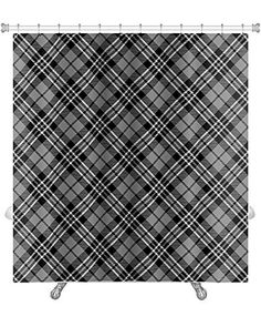 Wavy Vertical Lines Fabric Shower Curtain With Flocking Brown Black