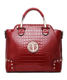 Look at this MKF Collection Red Croc Medallion Satchel on #zulily today!