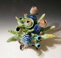 Ceramic Coral Reef, wall hanging by Diane Martin Lublinski. Follow my work at www.Facebook.com/ClayForms Mosaic Garden, Mosaic Art, Mosaic Tiles, Coral Reef Art, Year 7, Clay Tiles, Stem Projects, Ceramic Animals, Pottery Designs