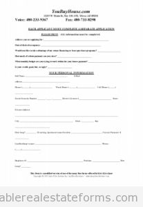 Free Short Credit Application Printable Real Estate Document