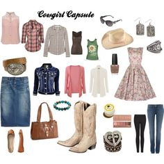 """""""Cowgirl Capsule"""" Spring/Summer Country/Cowgirl/Western outfits, travel capsule wardrobe.... by funnymummy6 on Polyvore"""