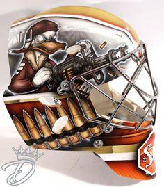 Anaheim Goalie Timo Pielmeier new mask flips script on Ducks' hunters Goalie Mask, Player One, Anaheim Ducks, Masked Man, Bees Knees, Nhl, Man Cave, Helmet, Masks
