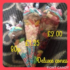 Deluxe cones filled with your choice of sweets. Birthday favours, wedding favours, baby shower favours