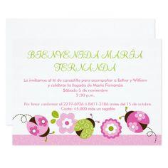 """Invitaciones verdes rosadas de la fiesta de invitación 5"""" x 7"""""""